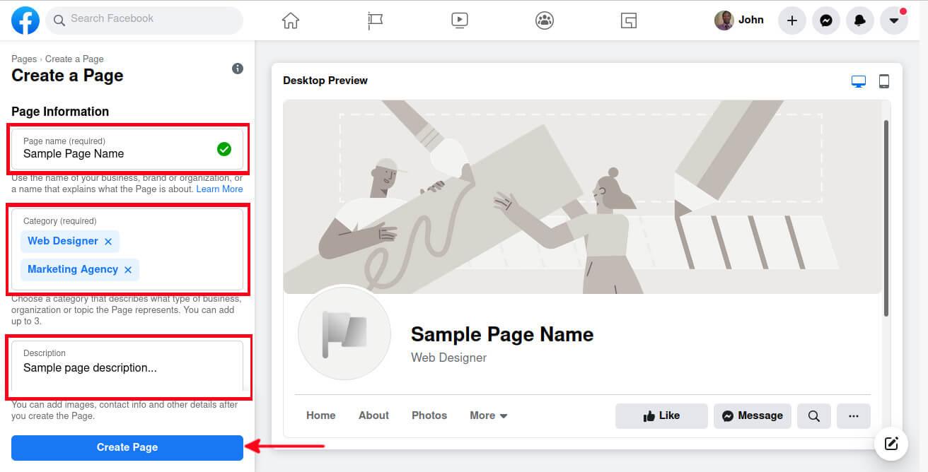 Facebook page information